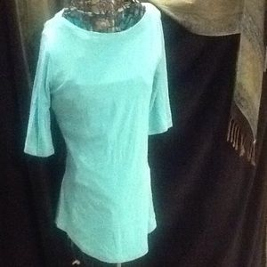 Seafoam green top, half sleeves. Soft!
